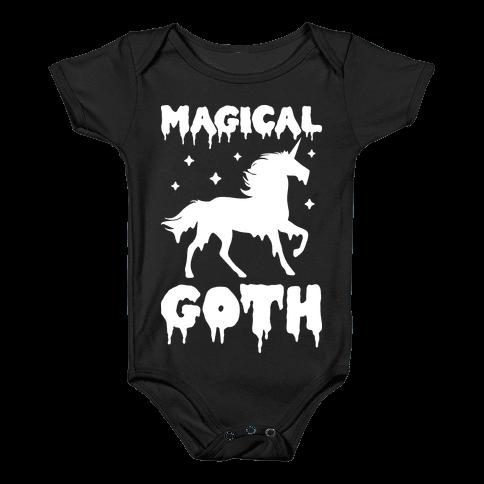 Magical Goth Unicorn Baby Onesy