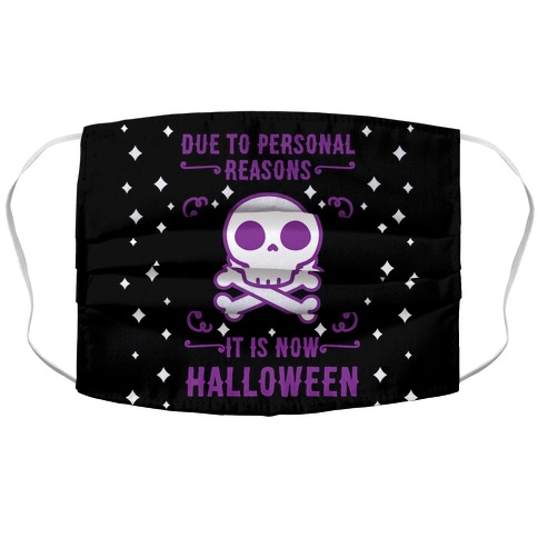 Due To Personal Reasons It Is Now Halloween Skull (Purple) Accordion Face Mask
