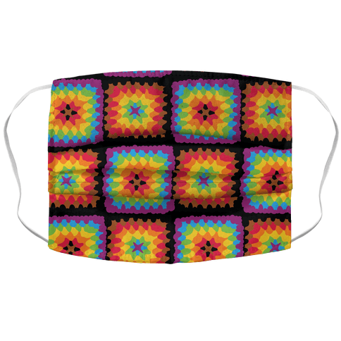 Granny Squares Pattern (Gay Pride) Accordion Face Mask