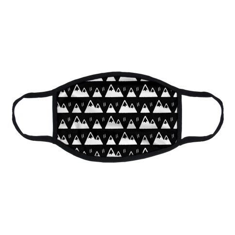 Mountains Boho Pattern Black and White Flat Face Mask