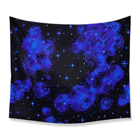Pixelated Blue Nebula Tapestry