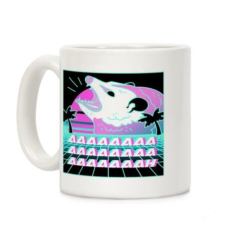 Screaming Retrowave Possum Coffee Mug