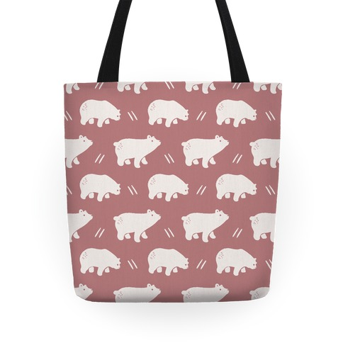 Bear Dusty Rose Boho Pattern Tote