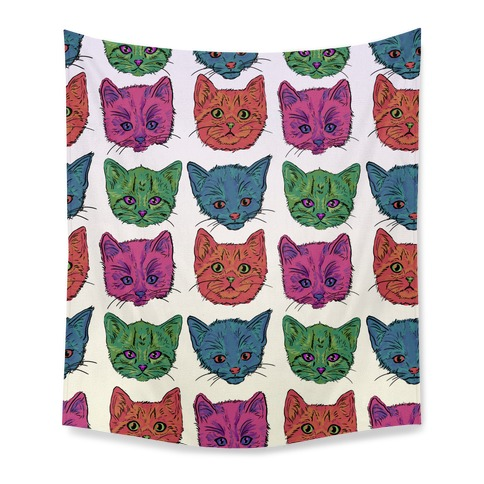 Colorful Kitten Square Pattern Tapestry