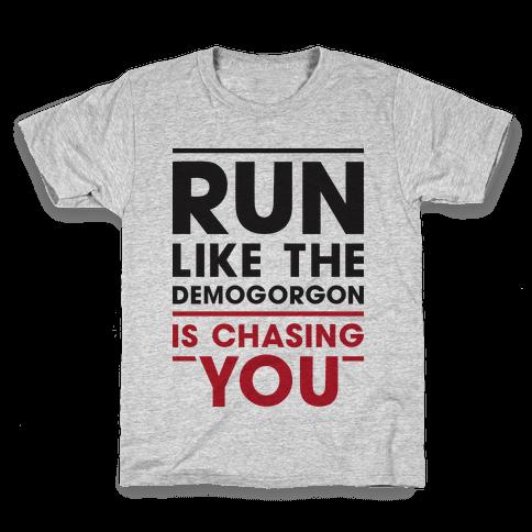 Run Like The Demogorgon Is Chasing You Kids T-Shirt