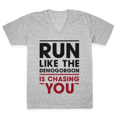 Run Like The Demogorgon Is Chasing You V-Neck Tee Shirt