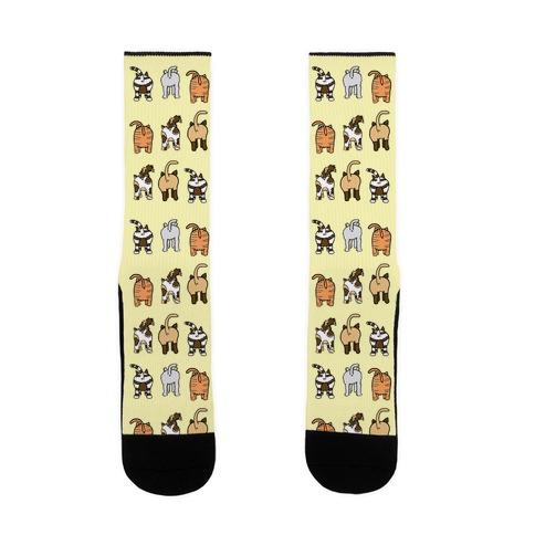 Yellow Cat Butt Pattern Sock