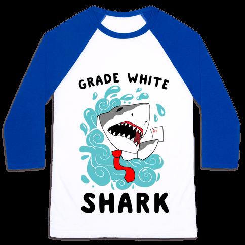 Grade White Shark Baseball Tee