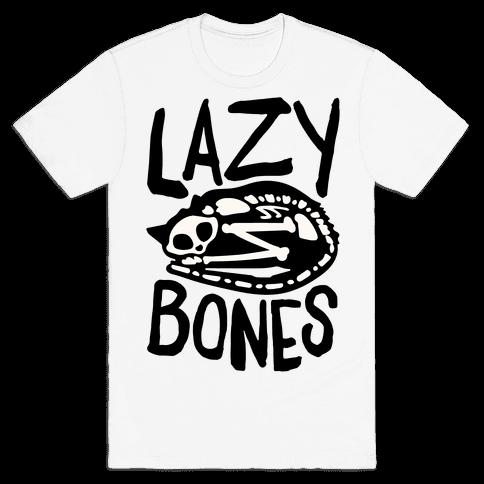 Lazy Bones Cat Skeleton Mens/Unisex T-Shirt