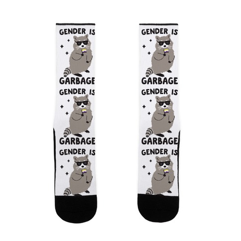 Gender Is Garbage Non-binary Raccoon Sock
