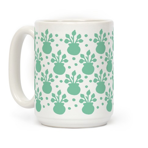 Potted Plant Boho Pattern Sea Foam Green Coffee Mug