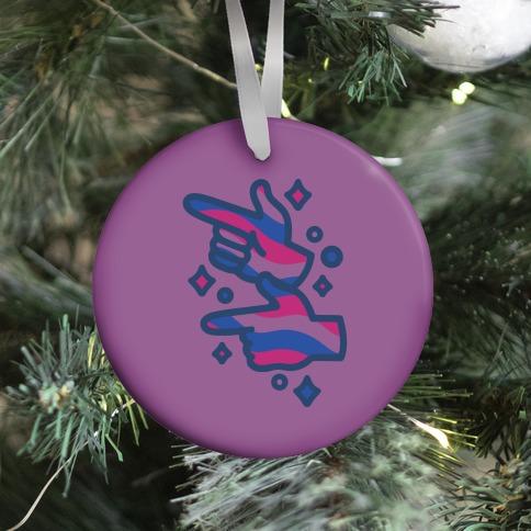 Bisexual Pride Finger Guns  Ornament