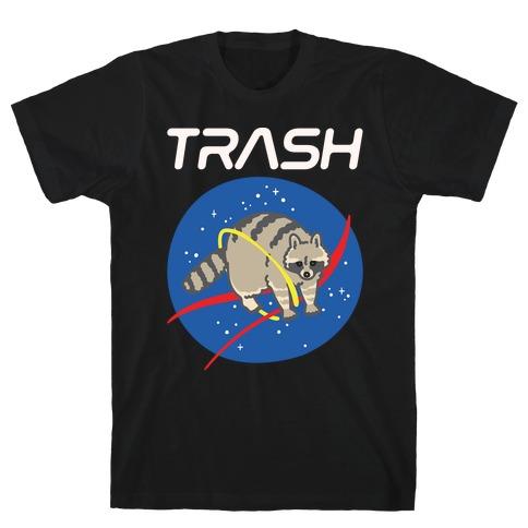 Trash Raccoon Nasa Logo Parody White Print T-Shirt