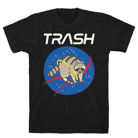 Trash Raccoon Nasa Logo Parody White Print T-Shirt