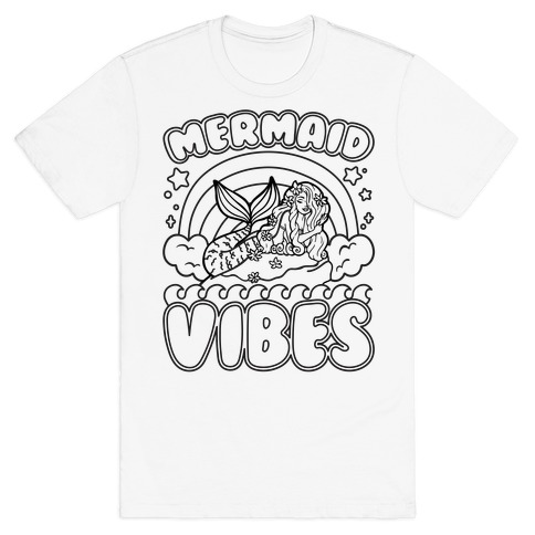 Mermaid Vibes Coloring Book Style Shirt T-Shirt