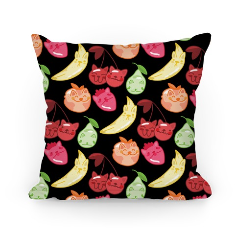 Kawaii Fruit Kitties Pattern Pillow