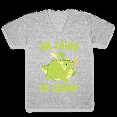 OH LAWD HE COMIN' Dragon V-Neck Tee Shirt