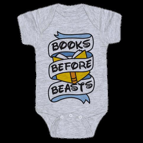 Books Before Beasts Baby Onesy