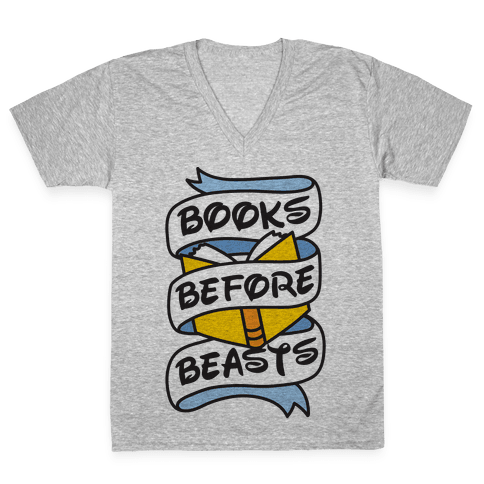 Books Before Beasts V-Neck Tee Shirt
