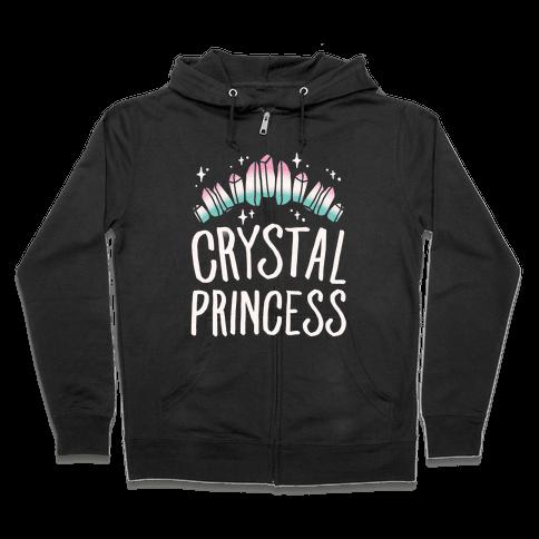 Crystal Princess White Print  Zip Hoodie