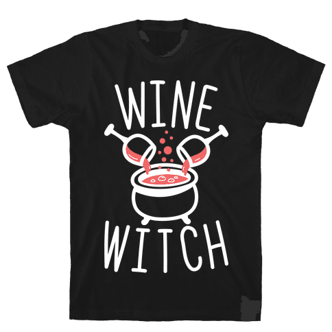 Wine Witch (White) Mens T-Shirt