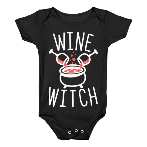 Wine Witch (White) Baby Onesy