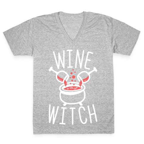 Wine Witch (White) V-Neck Tee Shirt