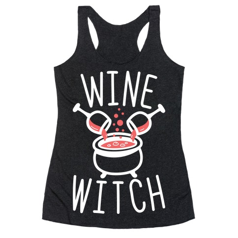 Wine Witch (White) Racerback Tank Top