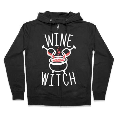 Wine Witch (White) Zip Hoodie