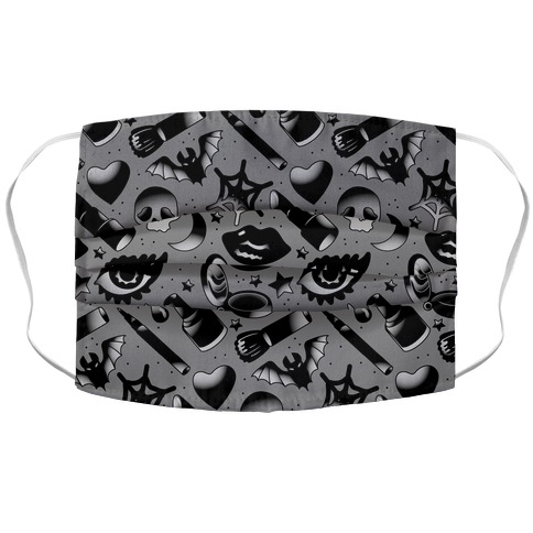 Goth Makeup Pattern Accordion Face Mask