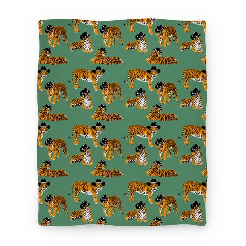 Tigers in Cowboy Hat Pattern Blanket