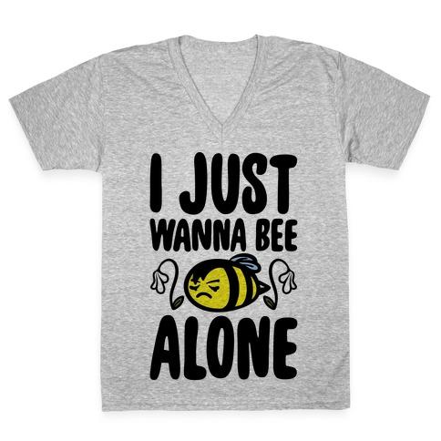 I Just Wanna Be Alone Emo Bee Pun Parody V-Neck Tee Shirt