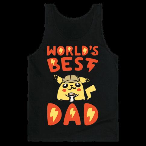 World's Best Dad Parody White Print Tank Top