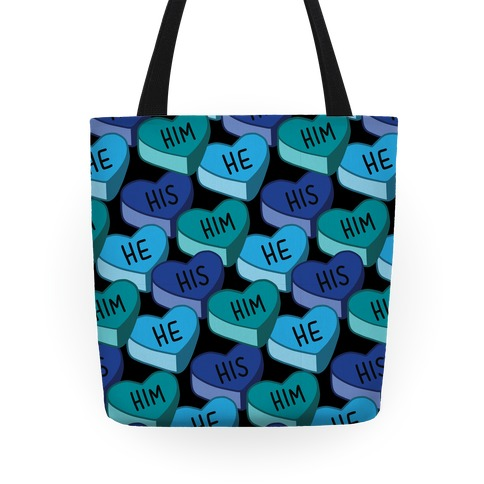 Male Pronoun Candy Hearts Tote