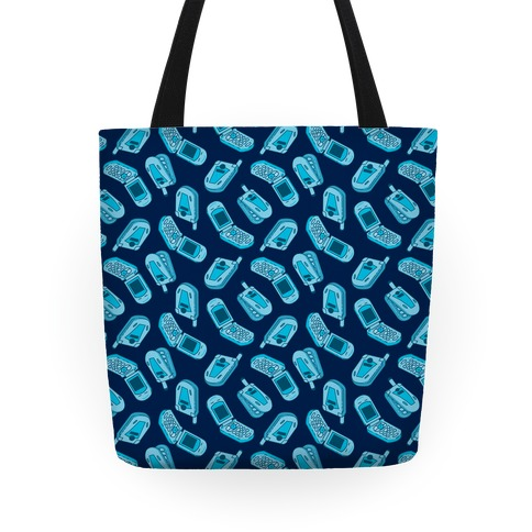 Blue Flip Phone Pattern Tote