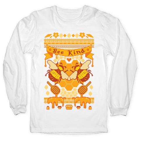 Bee Kind Sweater Pattern Long Sleeve T-Shirt