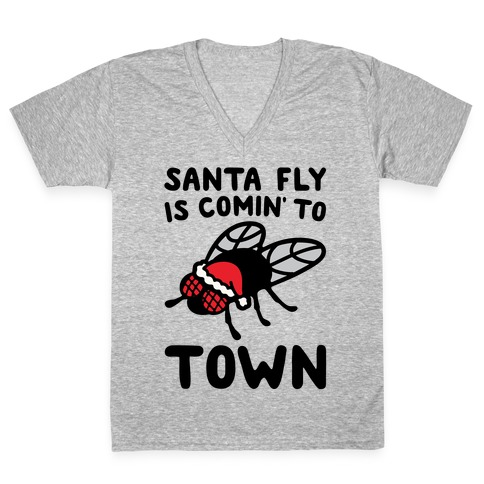 Santa Fly Is Coming To Town  V-Neck Tee Shirt