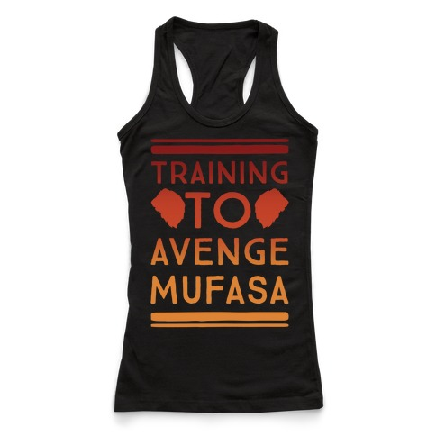 Training To Avenge Mufasa Parody White Print Racerback Tank Top