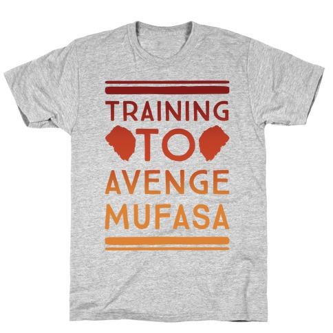 Training To Avenge Mufasa Parody White Print T-Shirt