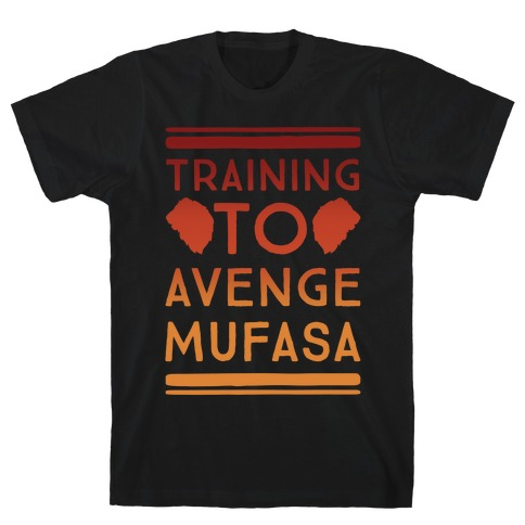 Training To Avenge Mufasa Parody White Print T-Shirt
