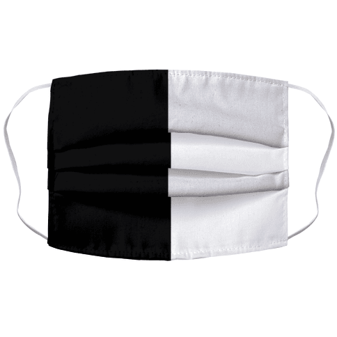 Vertical Black and White Split Face Mask Cover