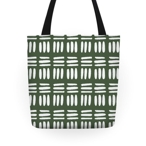 Dashed Lines Chive Boho Pattern Tote