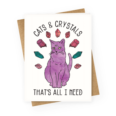 Cats and Crystals Greeting Card