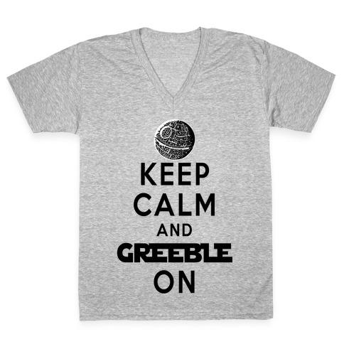 Keep Calm and Greeble On White V-Neck Tee Shirt