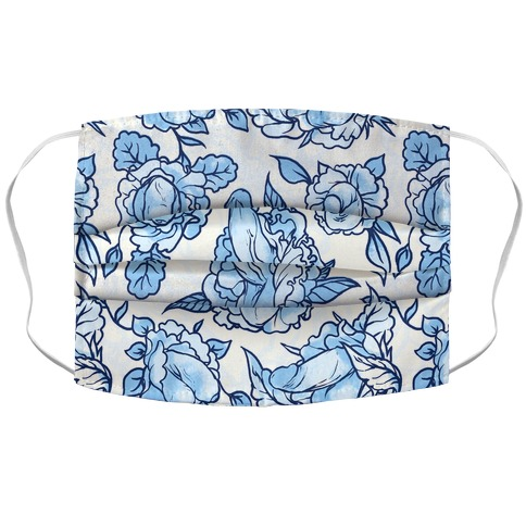 Floral Penis Pattern Blue Face Mask