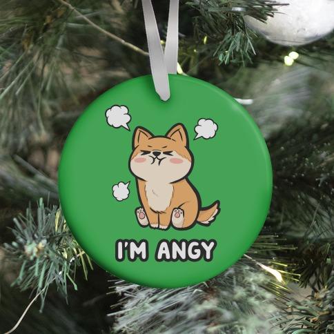 I'm Angy Shiba Inu (green) Ornament