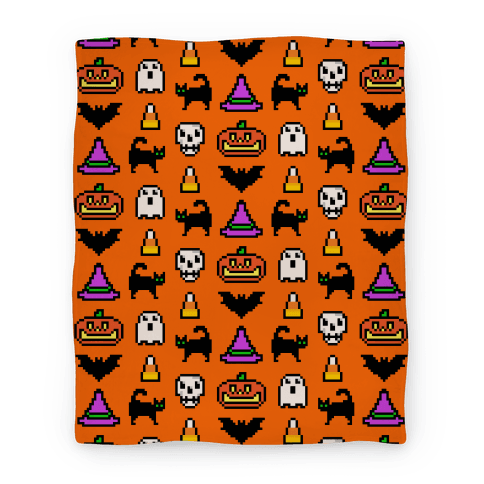 Pixel Halloween Pattern Blanket