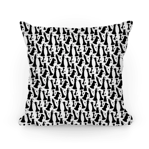 Black and White Chess Pieces Pattern Pillow