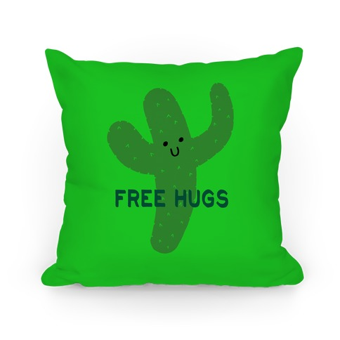 Free Hugs Cactus Pillow