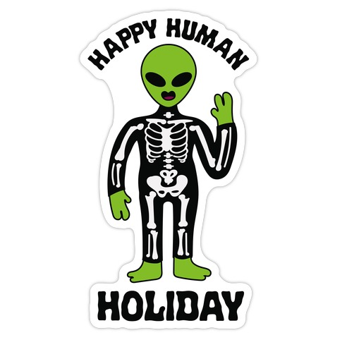 Happy Human Holiday Die Cut Sticker